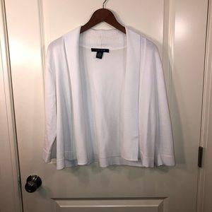 White Sweater open front cardigan crop sz M